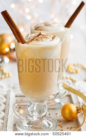 Egg Nog with Cinnamon Sticks