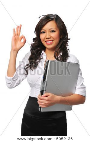 Beautiful Asian Young Woman With Laptop