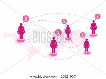 Breast Cancer Awareness Ribbon Women Speech Global Map. Eps10 File.