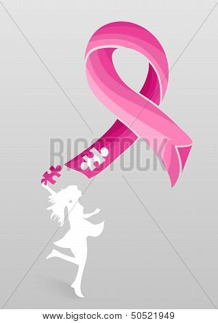 Breast Cancer Awareness Ribbon Woman Help Eps10 File.