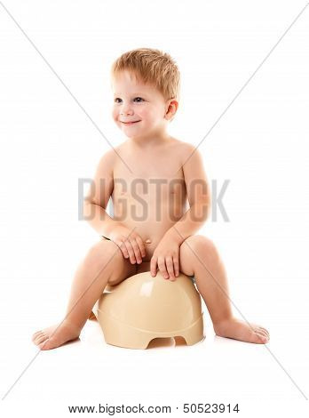 funny baby on the chamber pot