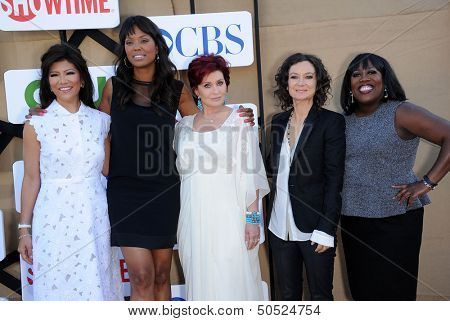 LOS ANGELES - AUG 04:  Julie Chen, Aisha Tyler, Sharon Osbourne, Sara Gilbert & Sheryl  arrives to CBS Showtime CW All Star Winter TCA Party 2013  on July 29, 2013 in Beverly Hills, CA