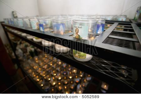 Devotional Candles In A Catholic Church