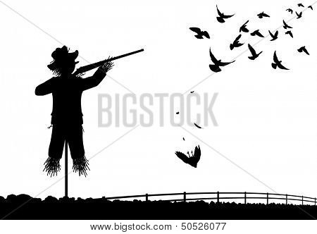 Editable vector silhouette of a scarecrow shooting pigeons with a shotgun