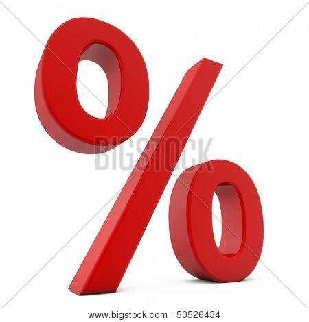 Red 3D percent sign isolated on white background.