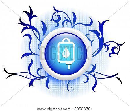 blooddrip icon on blue decorative button