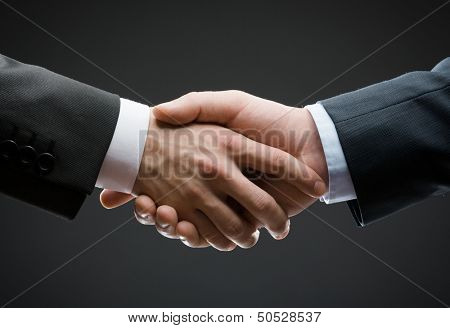 Close up of hand shake of business people. Concept of trustworthy relations and business cooperation