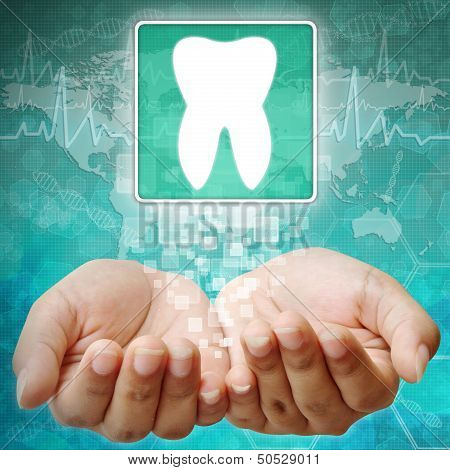 Tooth Symbol On Hand,medical Background