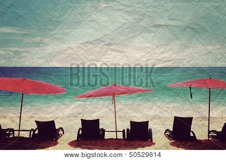 Beach Chair And Red Umbrella On The Beach,vintage Style