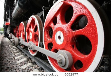 Close Up Of Locomotive Wheels