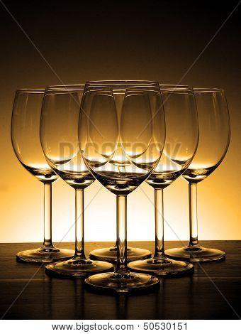 Empty Wine Glass In Beautiful Light Background