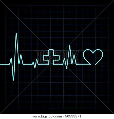 Heart beat make medical and heart symbol