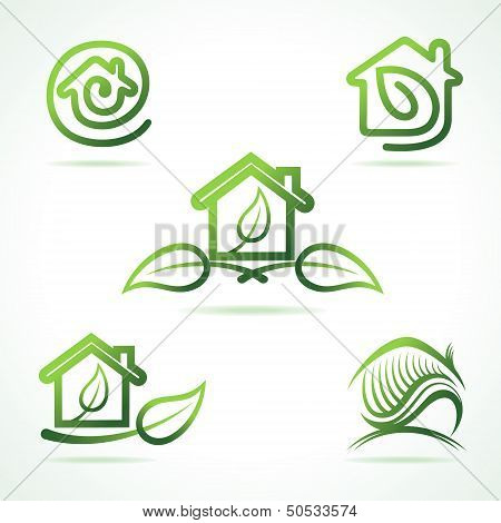 Set of eco home icons