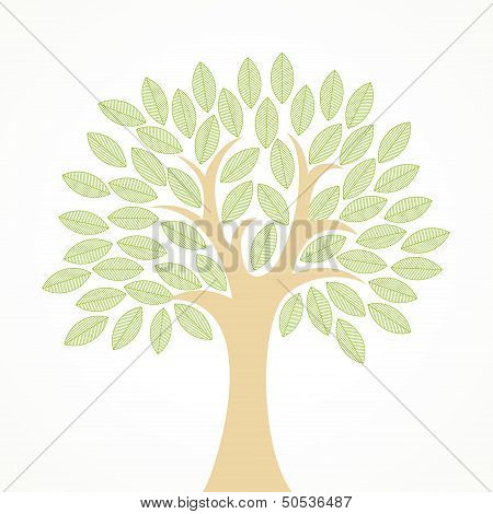 Stylized vector tree with green leaves