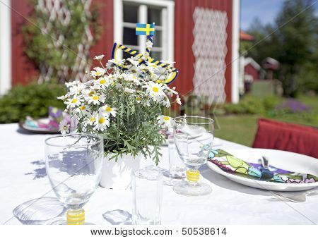 Laid table for the Midsummer celebration.