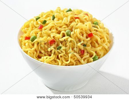 White bowl with cooked noodles