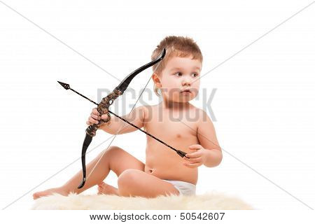 Infant baby with bow