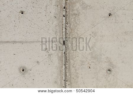 Concrete Surface With Four Squared Boreholes And Chasm