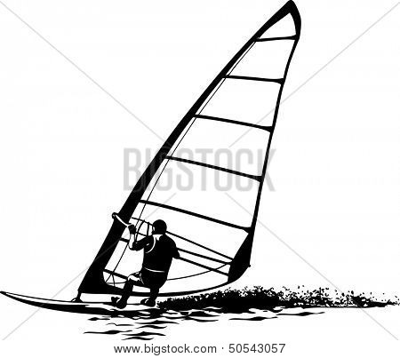 Vector silhouette of windsurfer on gliding