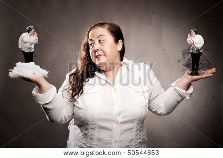 woman listening good and bad conscience