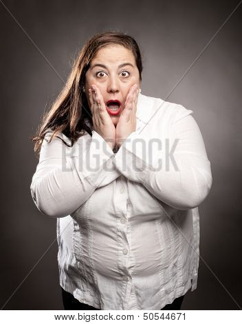 portrait of woman with surprise expression
