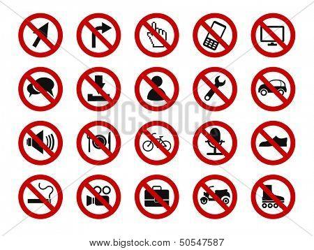 forbidden sign icon set