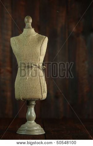 Vintage Antique Mannequin Busts on Wood Grunge Background