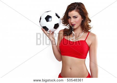 Sexy Woman Holding a Soccer Ball on White Background