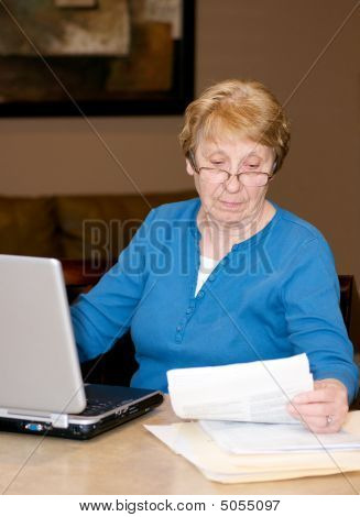 Senior Lady At Computer