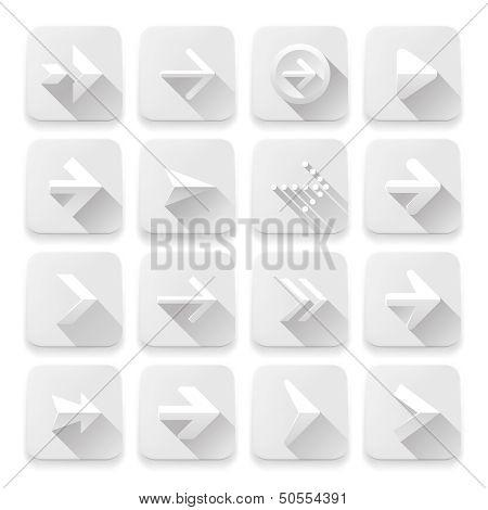 Set arrows icons, white app buttons, web design elements.