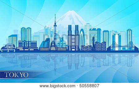 Tokyo City Skyline Detailed Silhouette