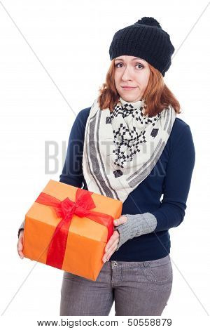 Disappointed Woman With Present