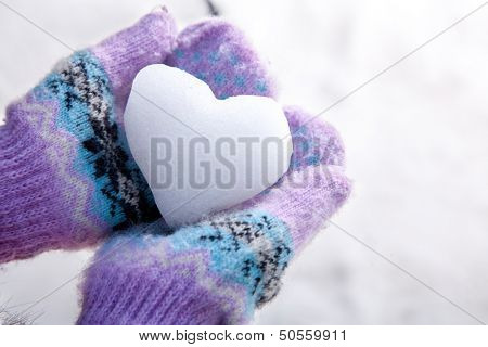 Snow Heart in Hands with Mittens