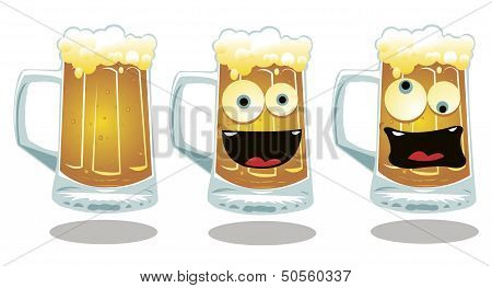 Normal And Funny Glasses Of Beer