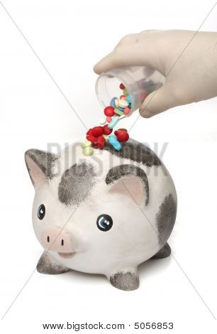 Pouring Medicine Pills Over An Infected Piggy
