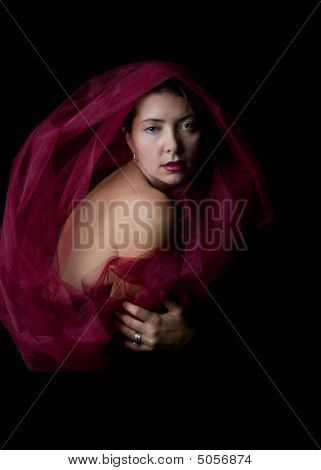 Young Caucasian Woman In Magenta Wrap.