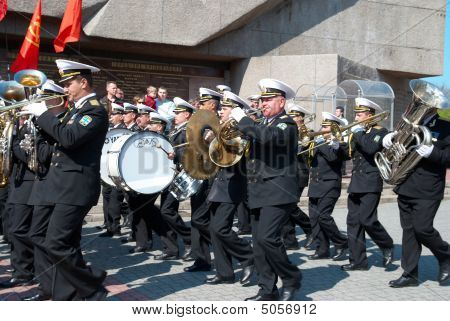Navy Musicians At Russian Parade May 9, 2009 In Sevastopol, Ukraine.