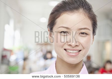 Portrait of Young Woman, White Collar Worker, Close-Up
