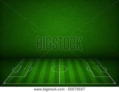 Soccer or football field or pitch side view with proper markings and proportions according standards