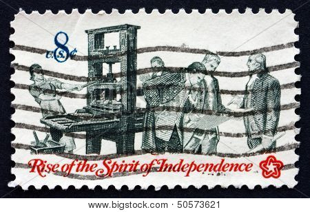 Postage Stamp Usa 1973 Printer And Patriots Examining Pamphlet