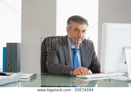 Smiling mature businessman using computer at office