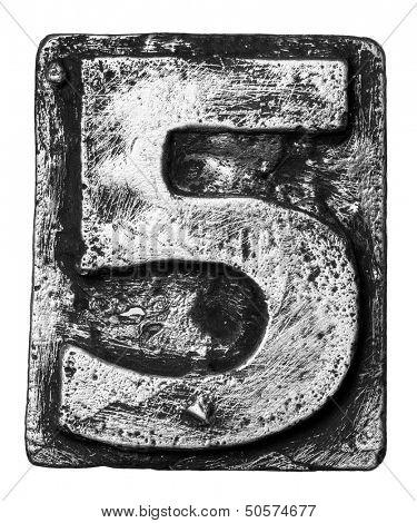 Metal alloy alphabet number 5