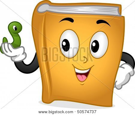 Mascot Illustration Featuring a Book Holding a Green Worm
