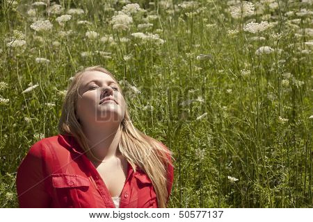 Teen Girl With Head Back Sun Bathing