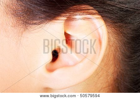 Young woman ear closeup.