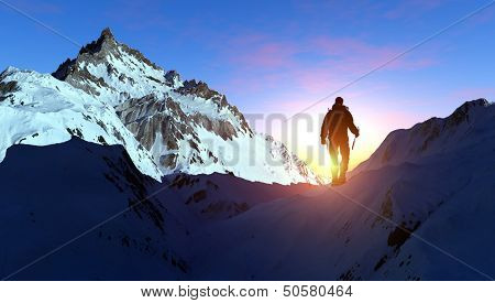 Climber ascends ea vershishu mountains.