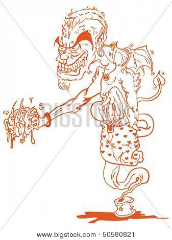 cartoon illustration of a devil ginnie holding a brain