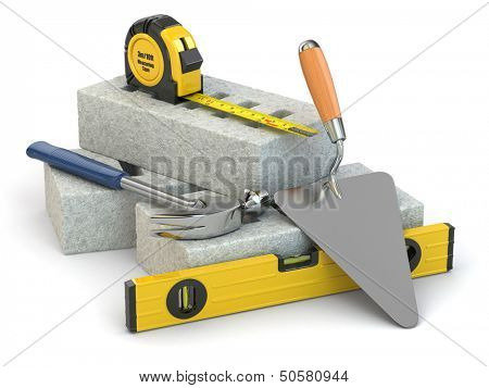 Construction concept. Bricks, trowel, hammer and level. 3d