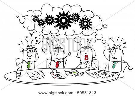 Tormenta de ideas. Este grupo de gerentes alrededor de la mesa intenta encontrar una solución.