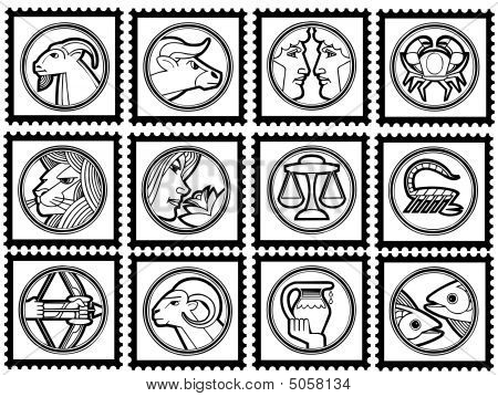 Stamps With Signs Of The Zodiac